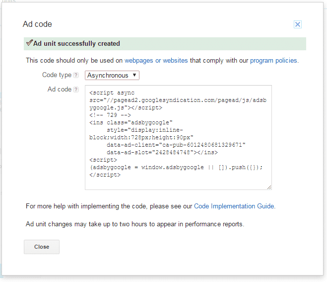 google adsense add code