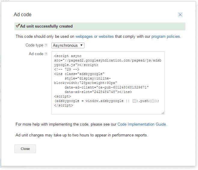 google adsense add code